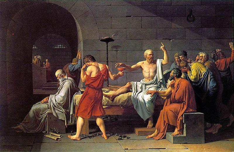 لوحة موت سقراط للفنان الفرنسي جاك لوي ديفيد (إنترنت)