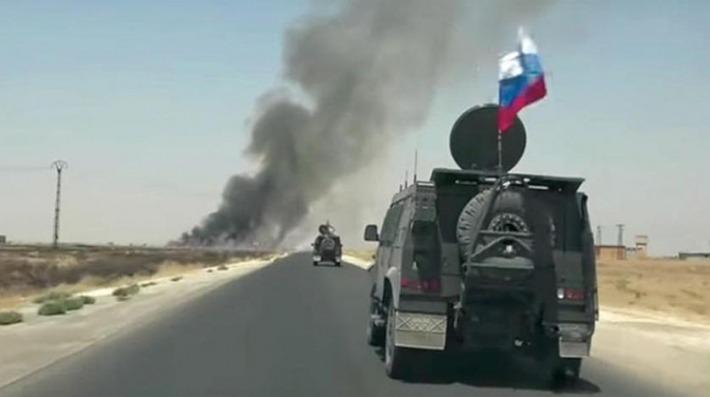 دورية روسية قرب الانفجار